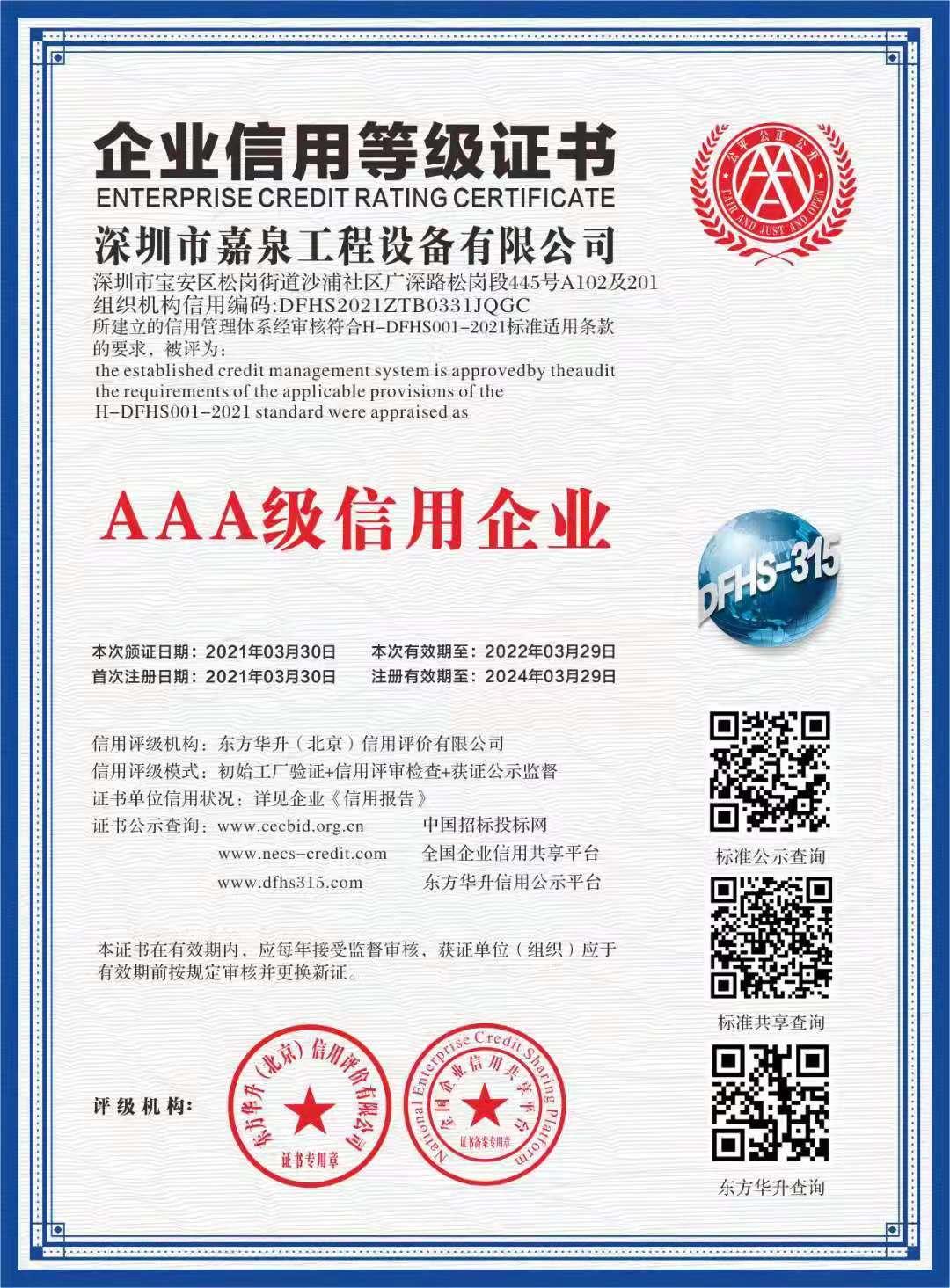 企业信用证书